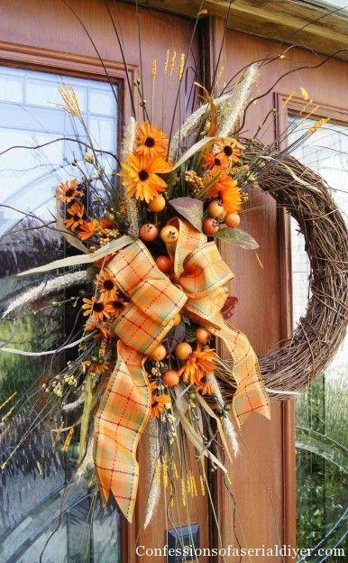 """<p>For a more adventurous crafter, try taking your wreath-making game to a new level by adding multiple layers and textures, like ivory stems and curly branches.</p><p><strong>Get the tutorial at <a href=""""http://www.confessionsofaserialdiyer.com/fall-wreath/"""" rel=""""nofollow noopener"""" target=""""_blank"""" data-ylk=""""slk:Confessions of a Serial Do-It-Yourselfer"""" class=""""link rapid-noclick-resp"""">Confessions of a Serial Do-It-Yourselfer</a>.</strong></p>"""