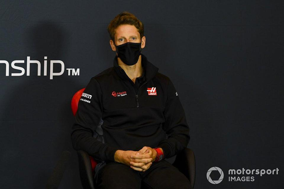 """Romain Grosjean, Haas F1, in a Press Conference<span class=""""copyright"""">Mark Sutton / Motorsport Images</span>"""
