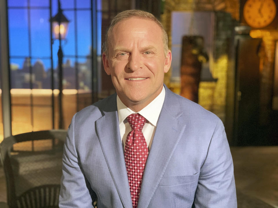 This image shows Newsmax television personality Grant Stinchfield. The network's rise in popularity has been astonishingly swift and could indicate the first serious threat to Fox News Channel's iron grip on conservative viewers in two decades. (Newsmax via AP)