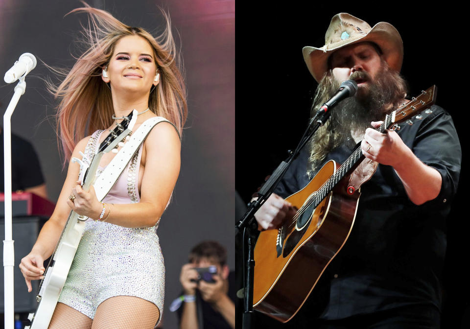 Maren Morris performs at the Bonnaroo Music and Arts Festival in Manchester, Tenn., on June 15, 2019 , left, and Chris Stapleton performs during Marty Stuart's Late night Jam at the Ryman Auditorium in Nashville, Tenn. on June 7, 2018. Morris and Stapleton lead the nominations for this year's Academy of Country Music Awards. The academy announced on Friday that Morris and Stapleton both had six nominations ahead of the April 18 awards show, which will air on CBS from Nashville, Tennessee. (AP Photo)