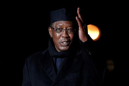 Chad's President Idriss Deby Itno  arrives to attend a visit and a dinner at the Orsay Museum in Paris