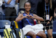 Leylah Fernandez, of Canada, motions to her box after defeating Elina Svitolina, of Ukraine, in the quarterfinals of the US Open tennis championships, Tuesday, Sept. 7, 2021, in New York. (AP Photo/Elise Amendola)