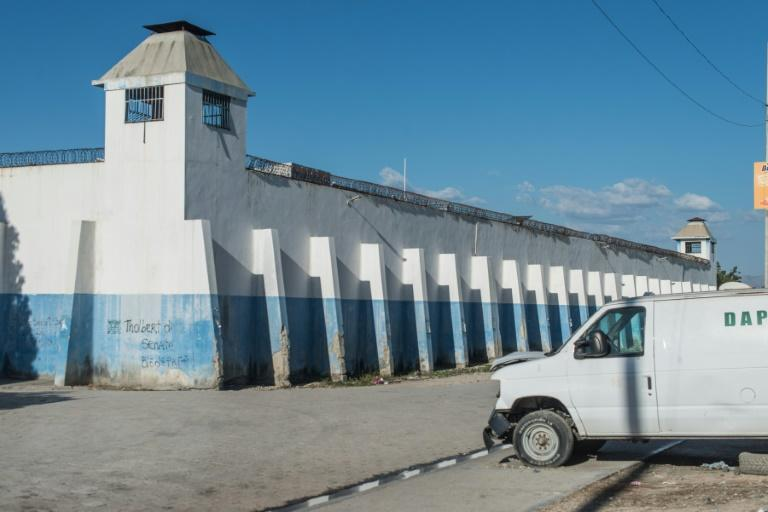 View of the facade of the Croix-des-Bouquets prison from where many prisoners escaped and where several people were killed, in Croix-des-Bouquets, Haiti
