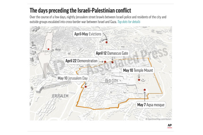 This preview image of an AP digital embed shows Locations of key events in the escalation of violence. (AP Digital Embed)