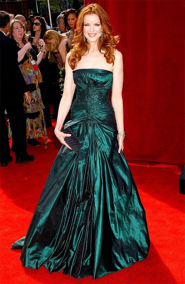 "BEST: The emerald Elie Saab dress ""Desperate Housewives"" star Marcia Cross wore to the 2005 Emmys wouldn't work for everyone, but it perfectly complements her light skin and auburn hair. (Photo by Gregg DeGuire/WireImage)"