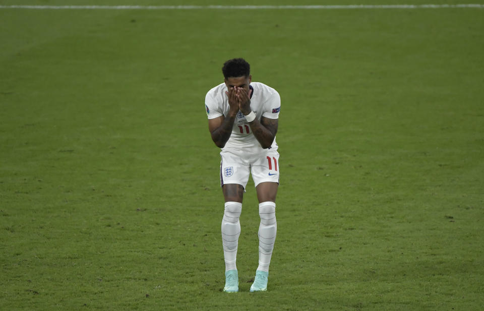 Marcus Rashford of England reacts after failed a penalty during the Uefa Euro 2020 Final football match between Italy and England at Wembley stadium in London (England), July 11th, 2021. Photo Andrea Staccioli / Insidefoto /Sipa USA