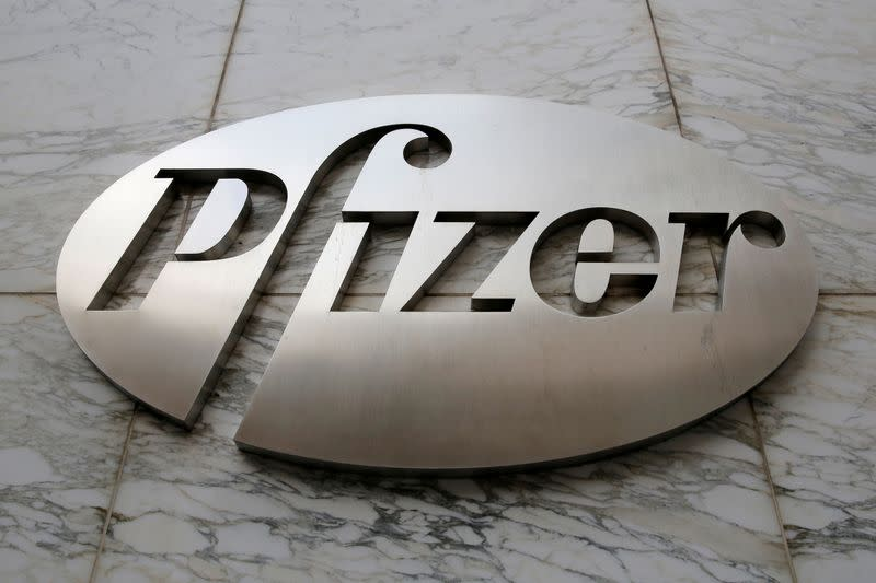 FILE PHOTO: The Pfizer logo is seen at their world headquarters in Manhattan, New York, U.S.