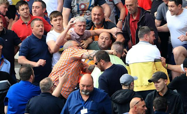 A fight breaks out among fans during the Championship match at The KCOM Stadium, Hull. (Photo by Mike Egerton/PA Images via Getty Images)