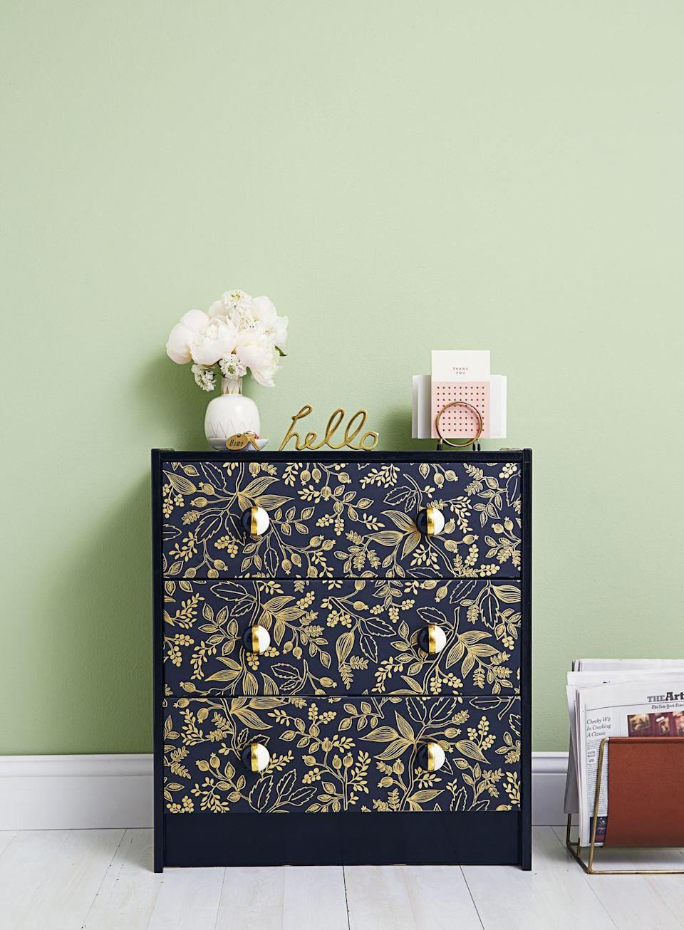 """<p>Spruce up a chest of drawers with new hardware, paint, and wallpaper. Even a medley of wallpaper samples can get the job, if you're looking for a thrifty solution. </p><p><em><a href=""""https://www.goodhousekeeping.com/home/craft-ideas/g3315/rast-ikea-dresser-hacks/"""" rel=""""nofollow noopener"""" target=""""_blank"""" data-ylk=""""slk:Get the tutorial »"""" class=""""link rapid-noclick-resp"""">Get the tutorial »</a></em> </p>"""