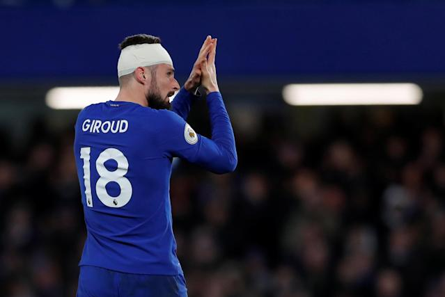 "Soccer Football - Premier League - Chelsea vs West Bromwich Albion - Stamford Bridge, London, Britain - February 12, 2018 Chelsea's Olivier Giroud applauds the fans as he is substituted Action Images via Reuters/Andrew Couldridge EDITORIAL USE ONLY. No use with unauthorized audio, video, data, fixture lists, club/league logos or ""live"" services. Online in-match use limited to 75 images, no video emulation. No use in betting, games or single club/league/player publications. Please contact your account representative for further details."