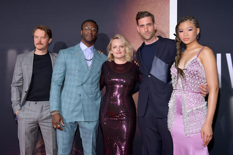 "HOLLYWOOD, CALIFORNIA - FEBRUARY 24: (L-R) Michael Dorman, Aldis Hodge, Elisabeth Moss, Oliver Jackson-Cohen, and Storm Reid attend the Premiere of Universal Pictures' ""The Invisible Man"" at TCL Chinese Theatre on February 24, 2020 in Hollywood, California. (Photo by Matt Winkelmeyer/Getty Images)"