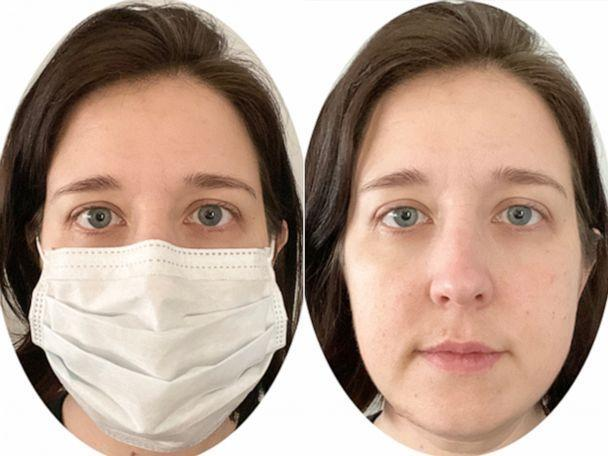 PHOTO: As a way to study the impact of pandemic-era masks on social interactions, University of Maine's Mollie Ruben has been studying perceptions of emotion and friendliness from crowdsourced selfies, masked and non-masked. (Mollie Ruben/University of Maine)