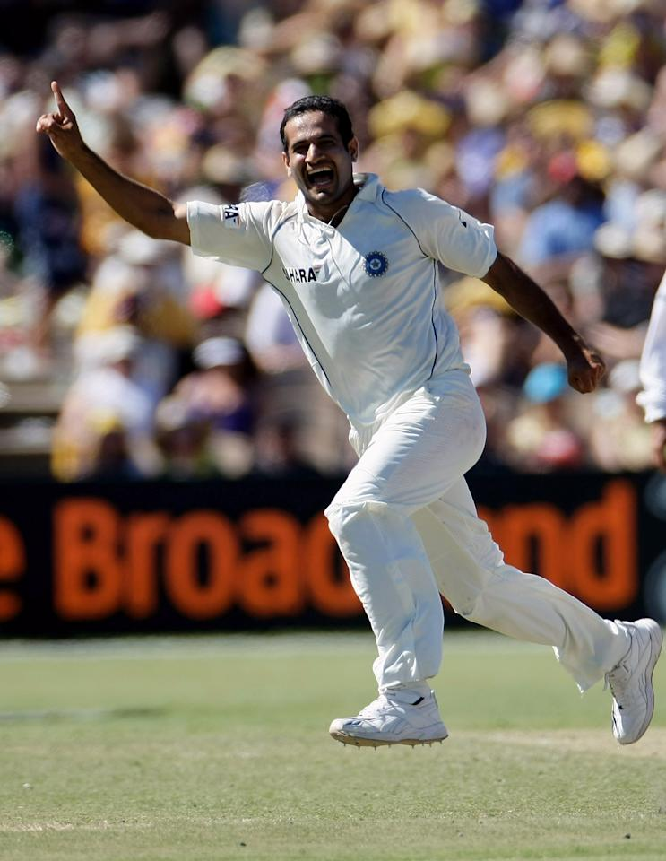 ADELAIDE, AUSTRALIA - JANUARY 26:  Irfan Pathan of India celebrates taking the wicket of Mile Hussey during day three of the Fourth Test between Australia and India at Adelaide Oval January 26, 2008 in Adelaide, Australia.  (Photo by Robert Cianflone/Getty Images)