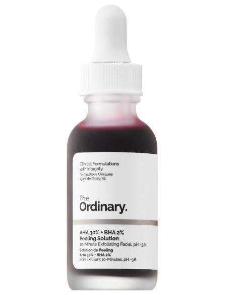 """Fight blemishes and smooth skin using <strong><a href=""""https://fave.co/2F9YjM8"""" target=""""_blank"""" rel=""""noopener noreferrer"""">The Ordinary AHA 30% + BHA 2% Peeling Solution</a></strong>. A 10-minute exfoliating facial with AHAs and BHAs such as glycolic acid, lactic&nbsp;acid and&nbsp;salicylic acid, this deep cleans pores and sloughs away dead skin.<strong>&nbsp;<a href=""""https://fave.co/2F9YjM8"""" target=""""_blank"""" rel=""""noopener noreferrer"""">Find it for $7 at Sephora.&nbsp;</a></strong>"""