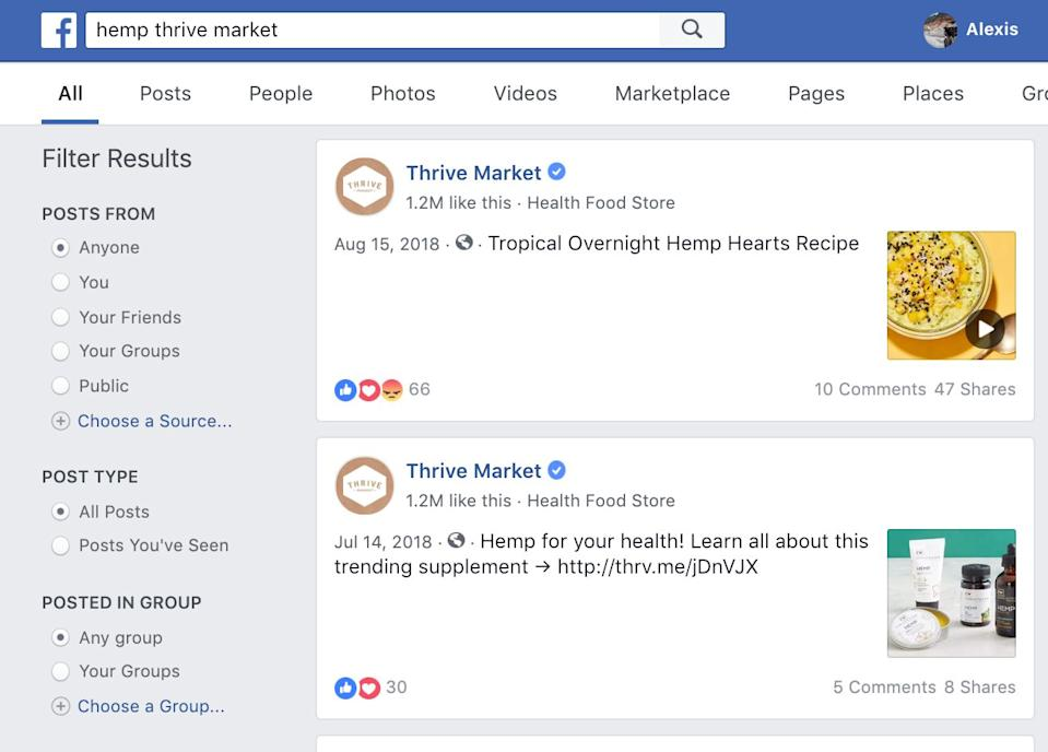 """Facebook search generated for """"hemp thrive market"""" shows photos and hyperlinks to Thrive Market post promoting hemp products and linking to product purchase website."""