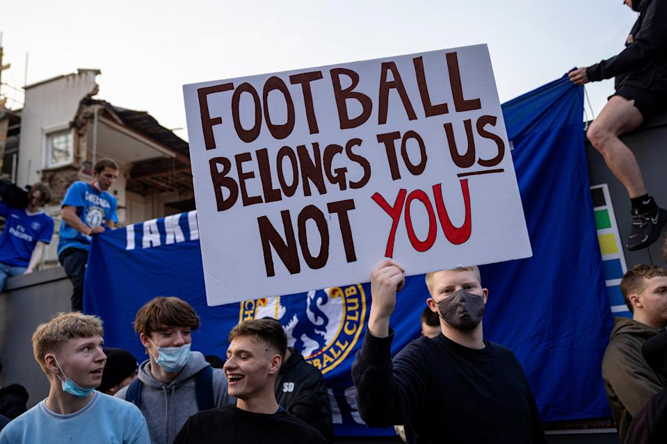 <p>Chelsea fans protested the club's decision to sign up to a European Super League</p> (Getty Images)