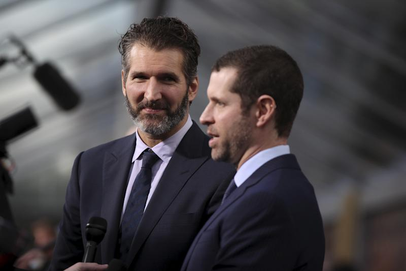 "David Benioff (L) and Dan Weiss, creators and executive producers, arrive for the season premiere of HBO's ""Game of Thrones"" in San Francisco, California March 23, 2015. REUTERS/Robert Galbraith"