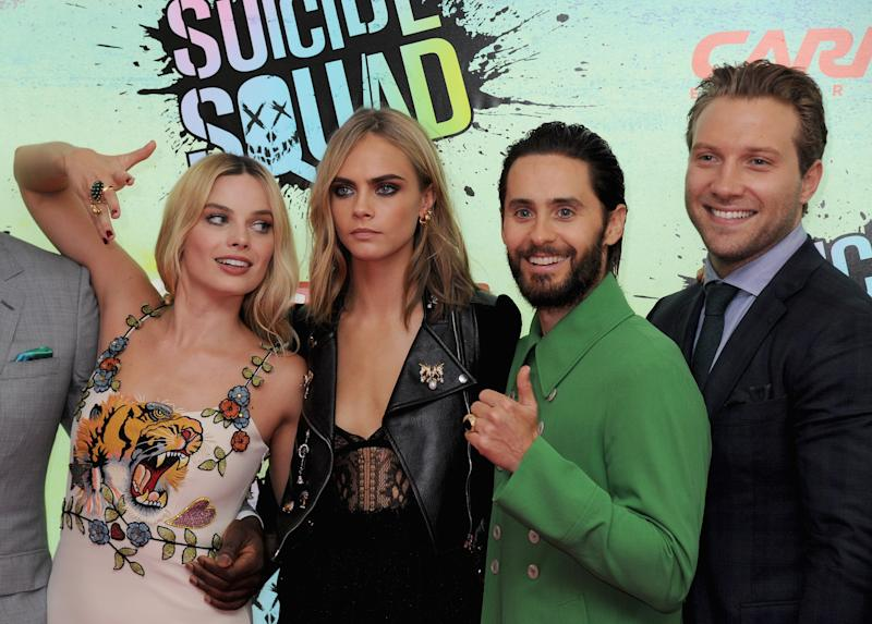 "LONDON, ENGLAND - AUGUST 03: Margot Robbie, Cara Delevingne, Jared Leto and Jai Courtney attend the European Premiere of ""Suicide Squad"" at Odeon Leicester Square on August 3, 2016 in London, England. (Photo by Dave J Hogan/Getty Images)"