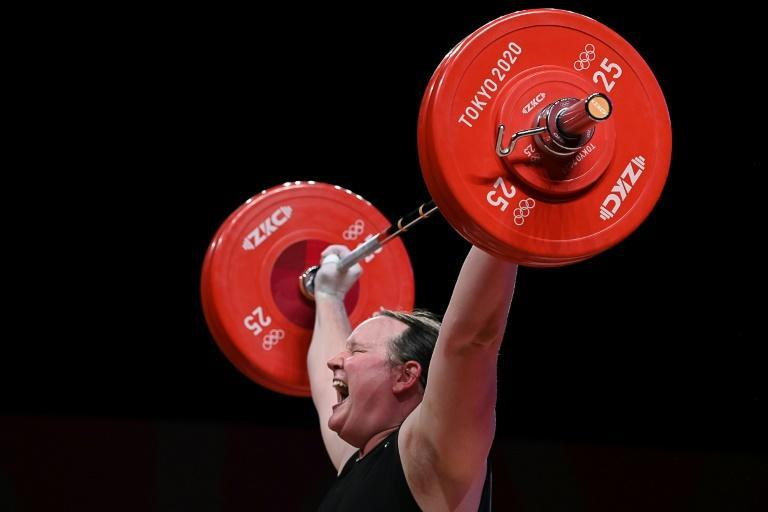 New Zealand's Laurel Hubbard competes in the women's +87kg weightlifting competition at the Tokyo Olympics