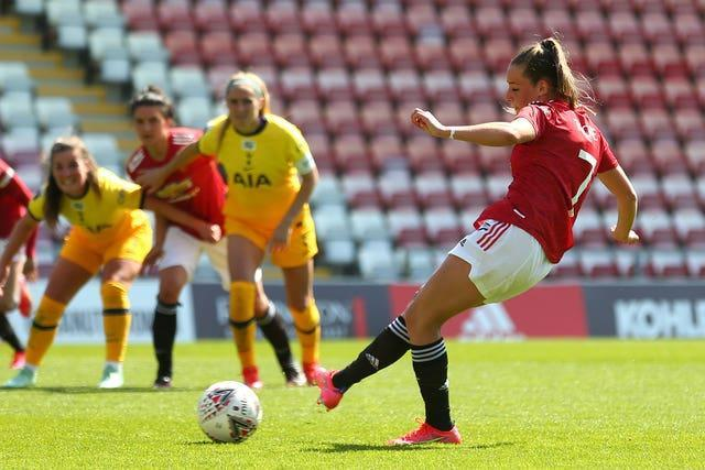 Ella Toone scored twice in a 4-1 WSL win over Tottenham to boost Manchester United's hopes of Champions League qualification