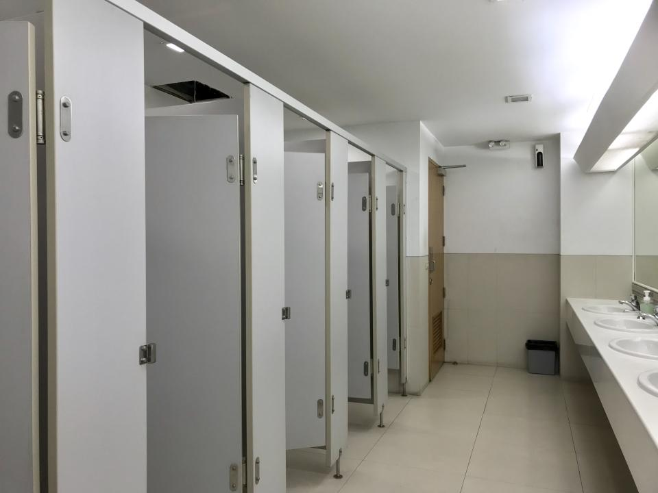 Clean bathroom in office building