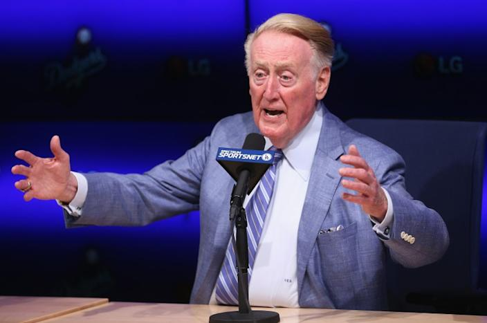 """Former Dodgers announcer Vin Scully has something to say — and he's not afraid to put it out there on social media. <span class=""""copyright"""">(Stephen Dunn / Getty Images)</span>"""