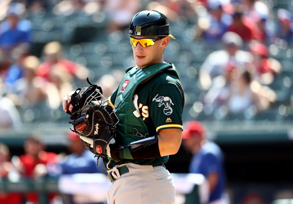Rookie catcher Sean Murphy has already taken on a big role with the A's. (Photo by Ronald Martinez/Getty Images)