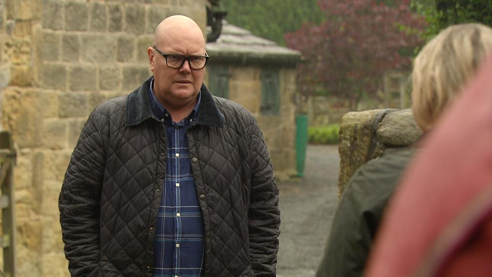 FROM ITV  STRICT EMBARGO Print media - No Use Before Tuesday Tuesday 14th September 2021 Online Media - No Use Before 0700hrs  Tuesday 14th September  2021  Emmerdale - 9156  Monday 20th September 2021  Desperate Paddy Kirk [DOMINIC BRUNT] has nowhere else to turn and finds himself outside Home Farm asking for Kim TateÕs [CLAIRE KING] help to get rid of Al. Kim argues that getting Al out of HOP would actually be in her interests so she needs Paddy to sweeten the deal for her.   Picture contact David.crook@itv.com   This photograph is (C) ITV Plc and can only be reproduced for editorial purposes directly in connection with the programme or event mentioned above, or ITV plc. Once made available by ITV plc Picture Desk, this photograph can be reproduced once only up until the transmission [TX] date and no reproduction fee will be charged. Any subsequent usage may incur a fee. This photograph must not be manipulated [excluding basic cropping] in a manner which alters the visual appearance of the person photographed deemed detrimental or inappropriate by ITV plc Picture Desk. This photograph must not be syndicated to any other company, publication or website, or permanently archived, without the express written permission of ITV Picture Desk. Full Terms and conditions are available on  www.itv.com/presscentre/itvpictures/termsFROM ITV  STRICT EMBARGO Print media - No Use Before Tuesday Tuesday 14th September 2021 Online Media - No Use Before 0700hrs  Tuesday 14th September  2021  Emmerdale - 9156  Monday 20th September 2021  Will TaylorÕs  [DEAN ANDREWS] loyalty is rewarded as Kim Tate [CLAIRE KING] appoints him as her new Estate Manager.  Picture contact David.crook@itv.com   This photograph is (C) ITV Plc and can only be reproduced for editorial purposes directly in connection with the programme or event mentioned above, or ITV plc. Once made available by ITV plc Picture Desk, this photograph can be reproduced once only up until the transmission [TX] date and no reprod