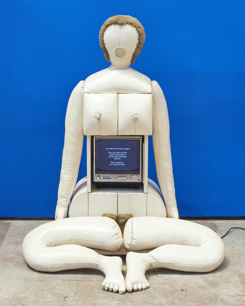 """Nicola L., """"Little TV Woman: 'I Am the Last Woman Object'"""", 1969, vinyl, wood, television. (Collection of Xavier Gellier (Photo: Kyle Knodell))"""