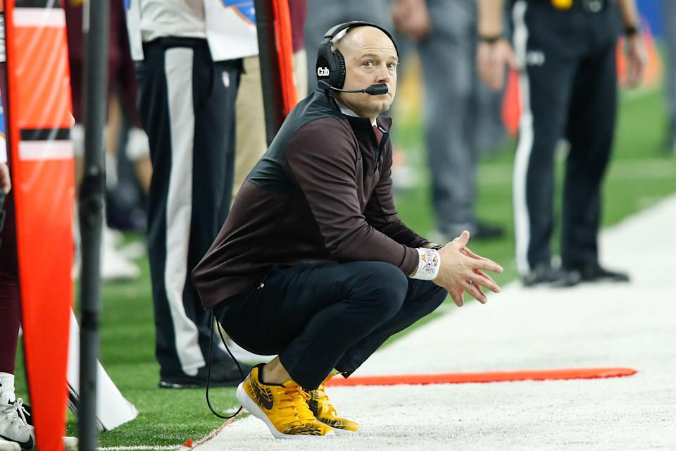 DETROIT, MI - DECEMBER 26:  Minnesota Golden Gophers head coach P.J. Fleck watches the action on the field during the Quick Lane Bowl game between the Minnesota Golden Gophers and the Georgia Tech Yellow Jackets on December 26, 2018 at Ford Field in Detroit, Michigan.  (Photo by Scott W. Grau/Icon Sportswire via Getty Images)