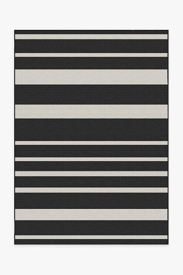 Black and White Stripe Outdoor Rug