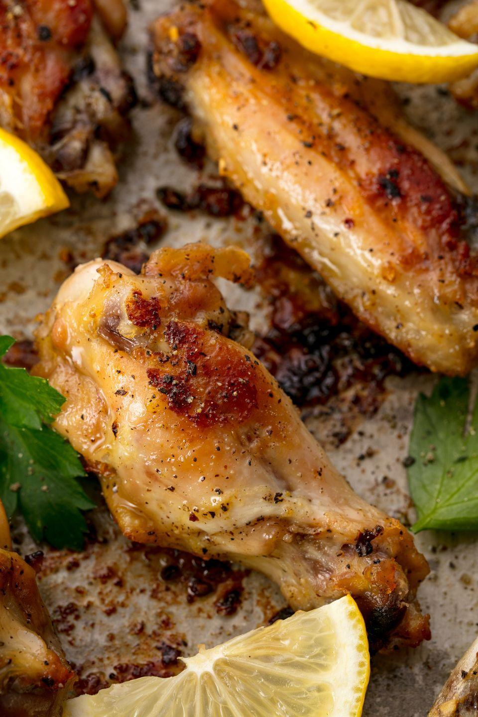 """<p>We'll take our wings with a twist.</p><p>Get the recipe from <a href=""""https://www.redbookmag.com/cooking/recipe-ideas/recipes/a54789/lemon-pepper-wings-recipe/"""" rel=""""nofollow noopener"""" target=""""_blank"""" data-ylk=""""slk:Delish"""" class=""""link rapid-noclick-resp"""">Delish</a>. </p>"""