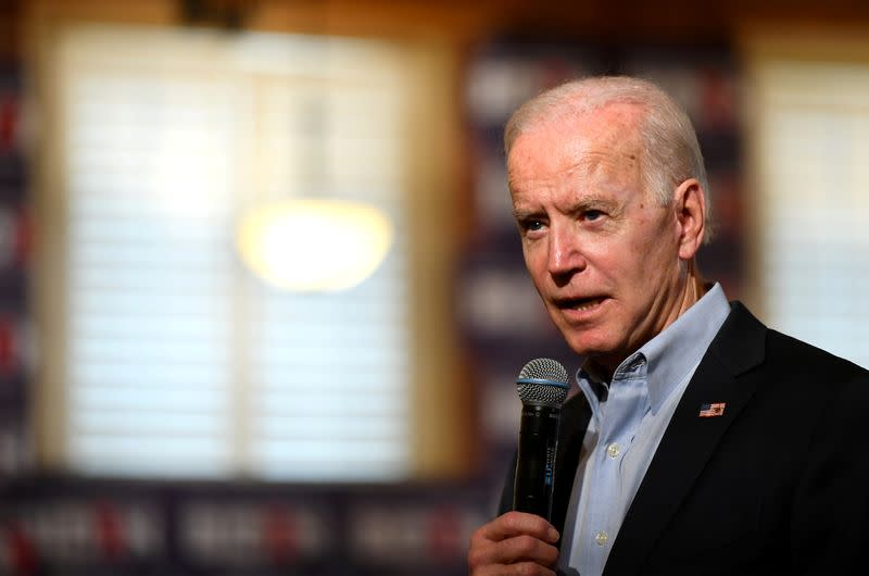 FILE PHOTO: Democratic 2020 U.S. presidential candidate and former Vice President Joe Biden at a campaign community event in Claremont
