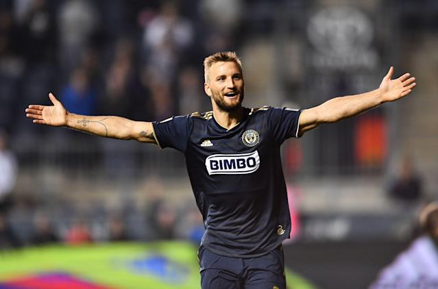 Kacper Przybylko and the Philadelphia Union sit atop the Eastern Conference almost a third of the way through the 2019 MLS season. (Kyle Ross/Getty)