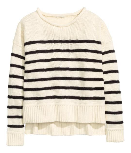 """<p>H&M Knit Sweater in Natural White/Striped, $20, <a href=""""http://www.hm.com/us/product/36672?article=36672-D&cm_vc=SEARCH"""" rel=""""nofollow noopener"""" target=""""_blank"""" data-ylk=""""slk:H&M"""" class=""""link rapid-noclick-resp"""">H&M</a>.<br></p>"""