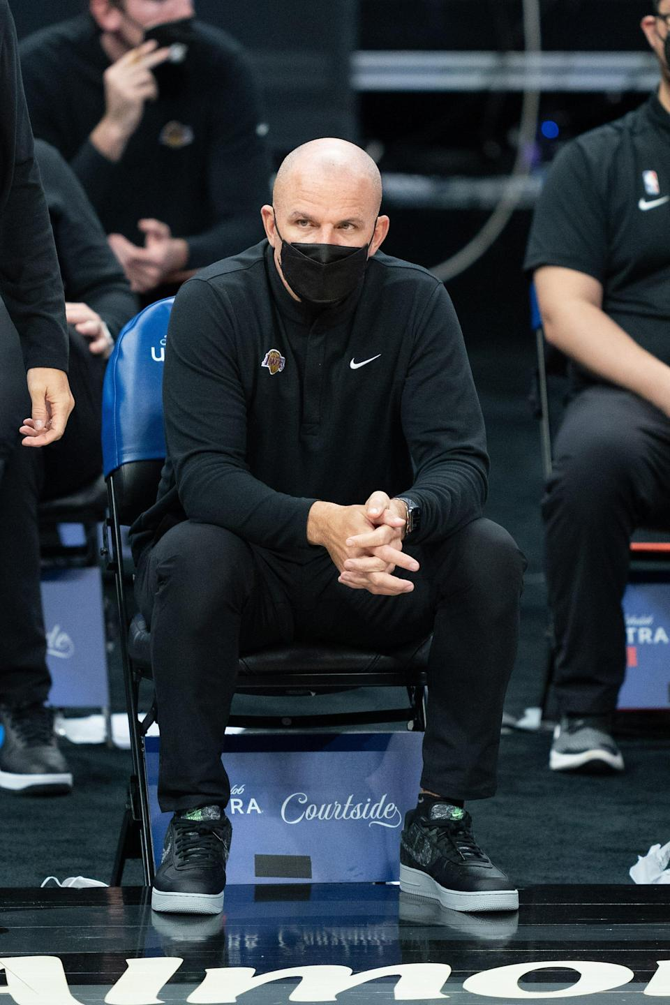 Los Angeles Lakers assistant coach Jason Kidd during the fourth quarter against the Sacramento Kings at Golden 1 Center.