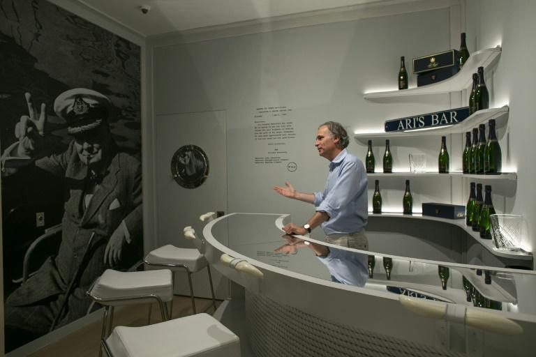 Phillips has recreated the bar from Aristotle Onassis's superyacht to stir interest in the upcoming auction