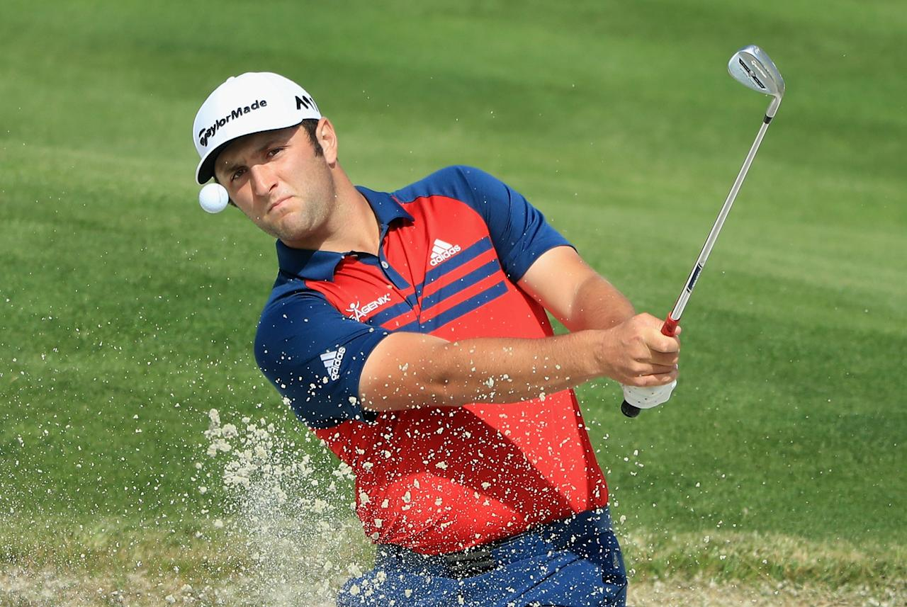 PARIS, FRANCE - JUNE 29:  Jon Rahm of Spain plays his third shot on the 18th hole during the first round of the HNA Open de France at Le Golf National on June 29, 2017 in Paris, France.  (Photo by Andrew Redington/Getty Images)