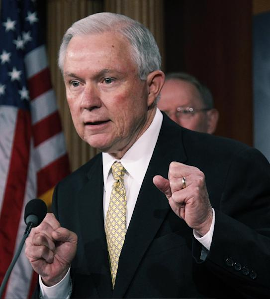 FILE - In this Sept. 8, 2011 file photo, Sen. Jeff Sessions, R-Ala., talks to the media before a joint session of Congress on Capitol Hill in Washington. (AP Photo/Manuel Balce Ceneta)