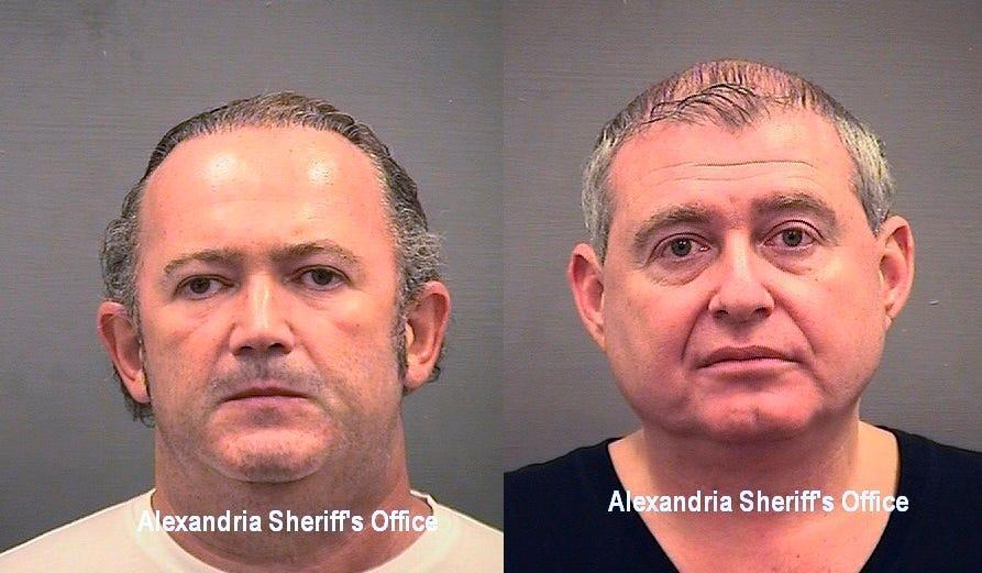 These images provided by the Alexandria Sheriff's Office shows booking mugshots of Igor Fruman (left) and Lev Parnas, associates of Rudy Giuliani who were arrested on an indictment that includes charges of violating campaign finance laws. The men had key roles in Giuliani's efforts to launch a Ukrainian corruption investigation against Biden and his son, Hunter.