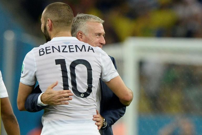 Friends again: Didier Deschamps embracing Benzema during the 2014 World Cup