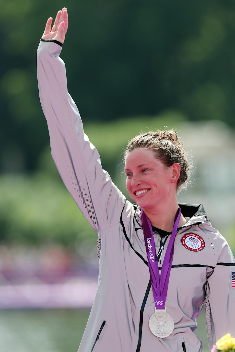 Silver medalist <span>Haley Anderson</span> of the United States celebrates on the podium during the medal ceremony for the Women's Marathon 10km Swimming at Hyde Park on August 9, 2012 in London, England. (Getty Images)