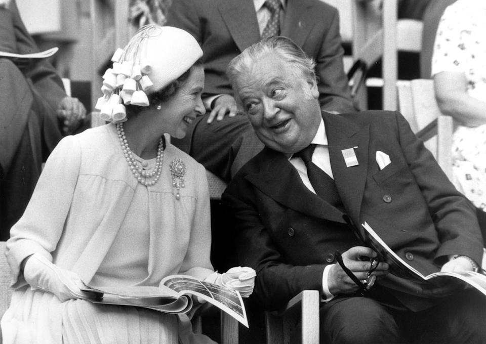 International Olympic Committee president Lord Killanin seen with Queen Elizabeth II at the 1976 Olympic Games held in Montreal, Canada. (Credit: Werner Baum/Getty Images)