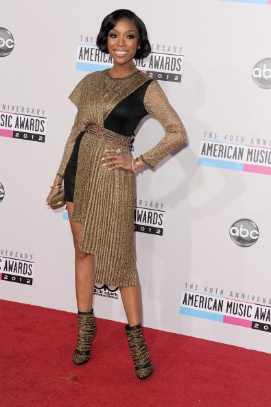Brandy arrives on the 2012 American Music Awards red carpet.