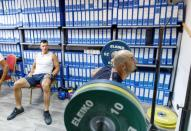 Croatia rowers Martin Sinkovic and Valent Sinkovic are seen during practice in improvised gym in hotel Alkar for the Tokyo 2020 Olympics in Sinj