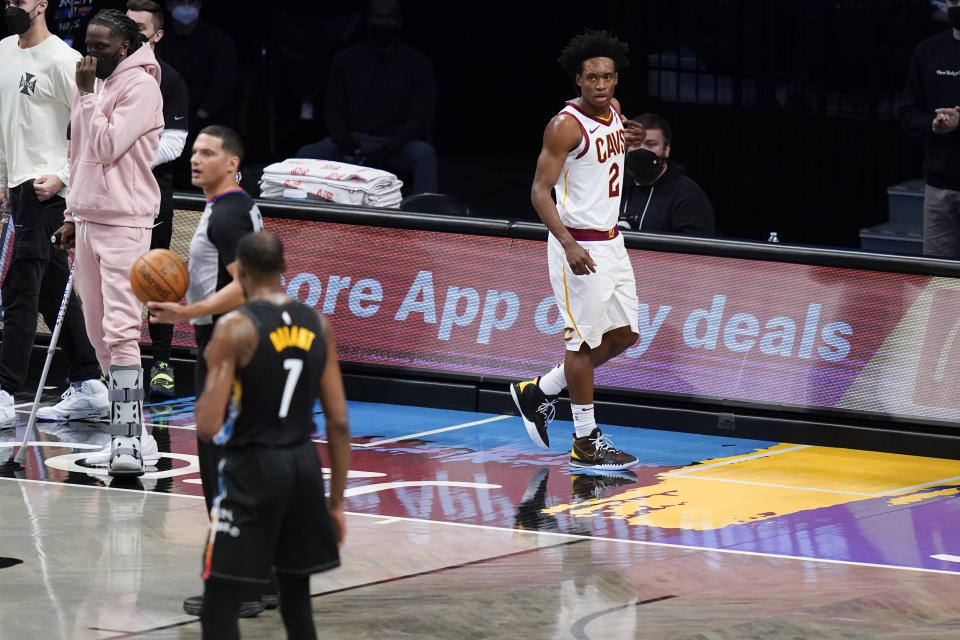 Cleveland Cavaliers' Collin Sexton (2) leaves the court after being ejected for a flagrant foul on Brooklyn Nets' Kevin Durant (7) during the second half of an NBA basketball game Sunday, May 16, 2021, in New York. (AP Photo/Frank Franklin II)