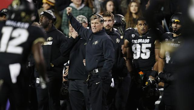 Colorado has gotten off to a surprising 2-0 start in its fourth year under Mike MacIntyre. (AP Photo/David Zalubowski)