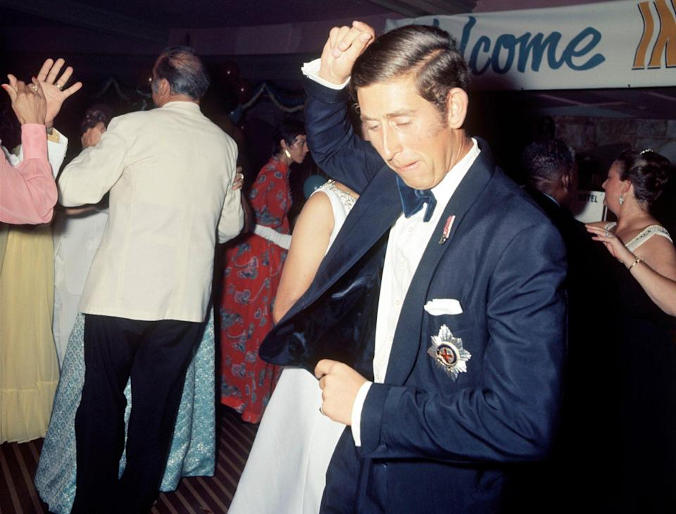 <p>Like father, like son! During a trip ashore while serving in the Royal Navy in 1973, a 24-year-old Charles celebrated Bahamian independence with a festive calypso in the capital city of Nassau. Years later the Prince of Wales revealed he also had a penchant for the thumping beats of disco.</p>