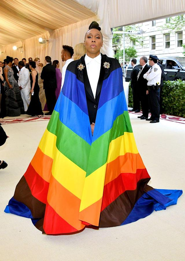 """<p>""""I don't want to blend in"""" said American screenwriter Lena Waithe. Amongst the gilded gowns, Waithe took the theme metaphorically in an embrace of the LGBTQ+ community with a cape by Carolina Herrera displaying the pride flag. """"You talk about church and Catholicism, it's about-you were made in God's image...The theme to me is be yourself,"""" Waithe said. </p>"""