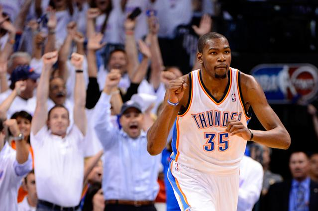 OKLAHOMA CITY, OK - JUNE 06: Kevin Durant #35 of the Oklahoma City Thunder reacts after a play against the San Antonio Spurs in Game Six of the Western Conference Finals of the 2012 NBA Playoffs at Chesapeake Energy Arena on June 6, 2012 in Oklahoma City, Oklahoma. NOTE TO USER: User expressly acknowledges and agrees that, by downloading and or using this photograph, User is consenting to the terms and conditions of the Getty Images License Agreement. (Photo by Ronald Martinez/Getty Images)
